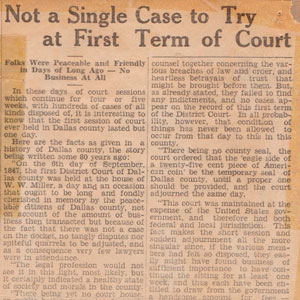 1927 Newspaper article first term of court