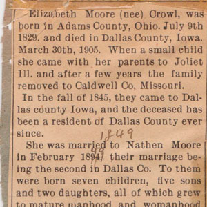 Elizabeth Crowl Moore Death 1905 02