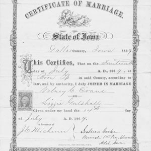 Evans Gutshall Marriage Certificate 1869