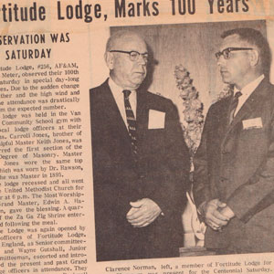 Fortitude Lodge Newspaper Article 100 Years