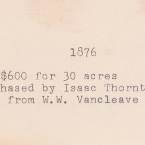 Isaac Thorton purchased land from W W VanCleave 1876