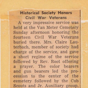 Van Meter Historical Society Honors Civil War Veterans