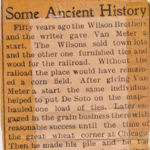 Van Meter history newspaper article