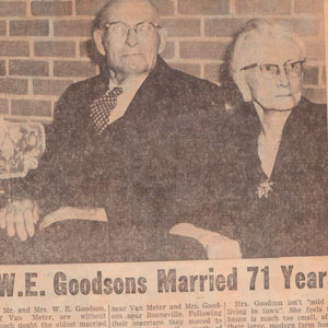 W E Goodson married 71 years