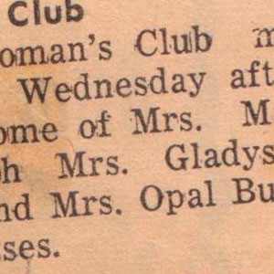 Womans Club Margaret Guye Gladys Armstrong Opal Burger